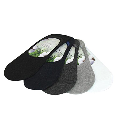 Cinco pares calcetines Hombres - Fibra de bambú. Invisibles. Antideslizantes. Calcetín del tobillo