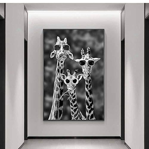 CAPOOK Lienzos en la Pared Cuadros artísticos Jirafas con Gafas de Sol Carteles e Impresiones Divertidos Animales -70x100 cm / 27.5'x39.4Sin Marco