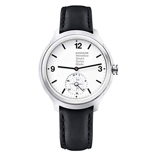 Mondaine Helvetica Smartwatch - Orologio con Cinturino Nero in Pelle per Uomo e Donna, MH1.B2S10.LB, 44 MM.