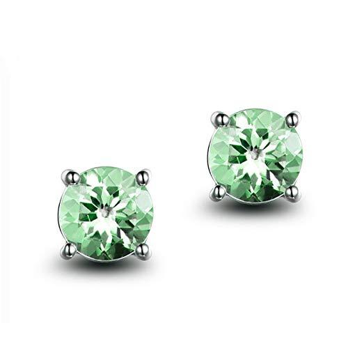 KHOBGLU Mujeres Elegantes Joyas De Aguamarina De Plata Pendientes Retro De Un Solo Diamante Pendientes De Piedras Preciosas De Color Verde Claro