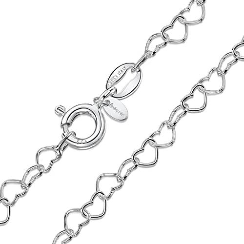 Amberta® Gioielli - Collanina - Catenina Argento Sterling 925 - Modello Cuore - Larghezza 3 mm - Lunghezza: 40 45 50 55 60 cm (60cm)