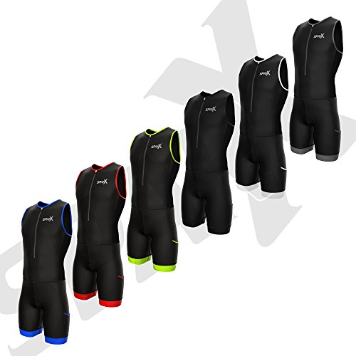 Sparx Men Competitor Triathlon Suit Mens Trisuits | Italian Technical Fabric | Soft Chamois | 4 Pockets | Bike-Swim-Run (Black/Black, Medium)