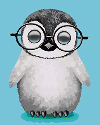 Pintar por Kits Pingüino ojo Pintura por Números con Pinceles y Pinturas Sin Marco, 40 x 50 cm