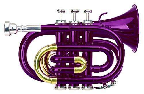 Classic Cantabile Brass TT-400 Bb-Taschentrompete (Messing, Schallbecher Durchmesser: 93 mm, Bohrung: 11,8 mm, Stimmung: Bb, inkl. Leichtkoffer, Mundstück, Putztuch, Handschuhe) violett