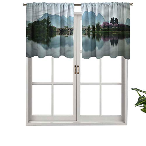 Hiiiman Rod Pocket Curtain Valance Blackout Japanese Lake View, Set of 2, 54'x24' Window Treatment for Living Room
