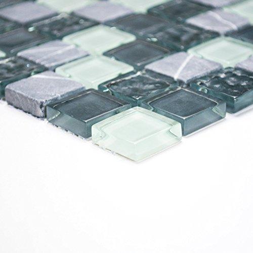 Piastrelle Mosaico tessere di mosaico in vetro bagno cucina WC Crystal Pietra Mix Grigio 8mm nuovo # 051