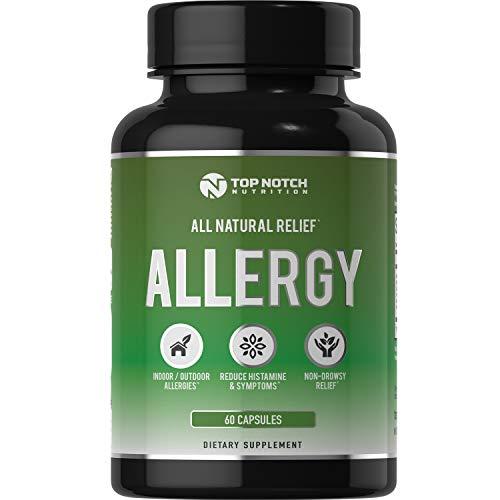 Top Notch Nutrition Natural Allergy Relief Pills Outdoor Indoor Pet Allergies Food Sensitivities Healthy Histamine Levels Antioxidants Moringa Stinging Nettle Quercetin Vitamin C Bromelain and NAC