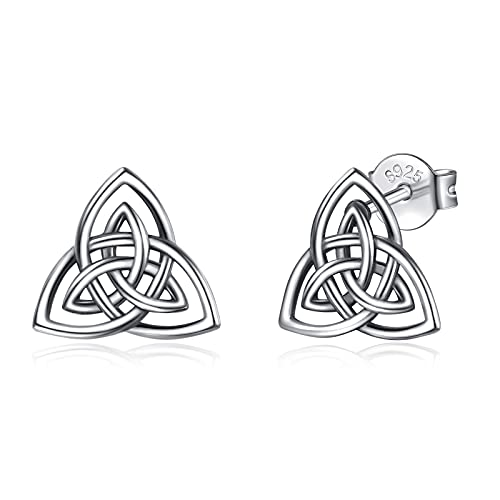 INFUSEU Triangle Earrings for Women Sterling Silver Celtic Trinity Knot Triquetra Ear Studs for Girls Ladies