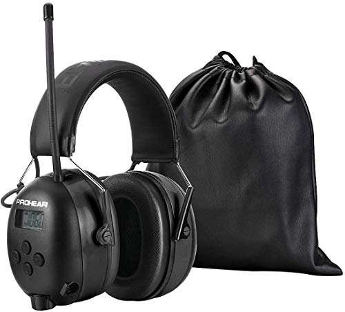 PROHEAR 033 Bluetooth 5.0 Recargable Casco de Protección Auditiva con Radio, AM/FM Protectores Auditivos con Bolsa Portátil, SNR 30dB para Segar, Construcción, Carpintería, Negro