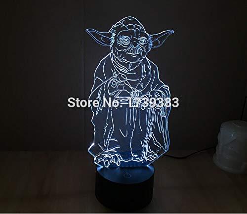 Nur 1 Stück 1 Stück 3D LED Stimmungslampe Glühbirne Beleuchtung 3D Master Yoda LED kleines Nachtlicht Weihnachtsdekoration Licht