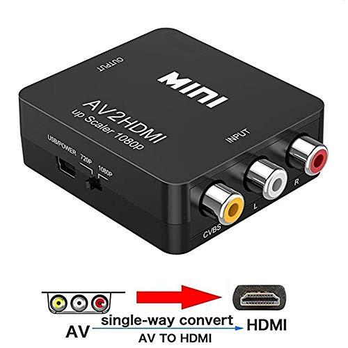RCA naar HDMI, 1080P AV naar HDMI Video Converter Mini RCA Composite CVBS Adapter Ondersteunt PAL/NTSC met USB-kabel voor PC Laptop Xbox PS4 PS3 TV STB VHS VCR Camera DVD