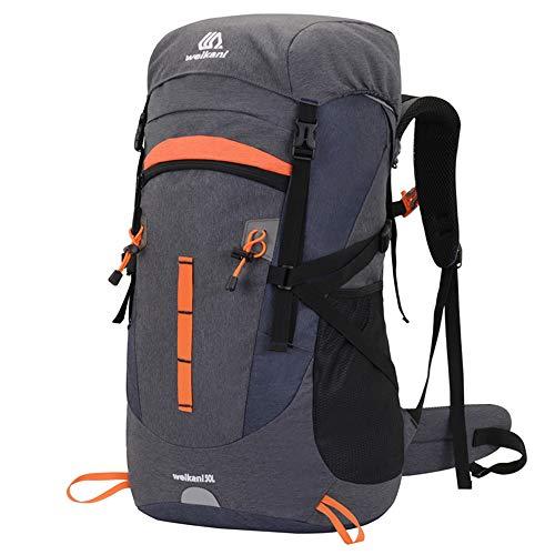 Sipobuy 50L Mochila De Senderismo Bolsa De Escalada, Impermeable Ligera Mochila De Camping De Trekking, Mochila De Hombro De Viaje Al Aire Libre Bolsa para Hombres Y Mujeres (Grey)