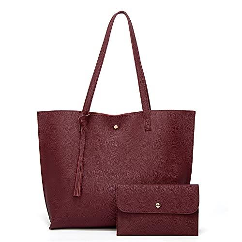 Juego de bolsos de mano para mujer, bolsos de hombro para mujer con borlas, bolsos de mano para mujer, bolsos grandes, 2 unidades, carteras de piel, bolsos de mujer