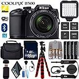 Nikon COOLPIX B500 Digital Camera (Black) 16MP 40x Optical Zoom with Built-in NFC, WiFi & Bluetooth + LED Light Kit + Camera Case + Flexible Tripod - International Version