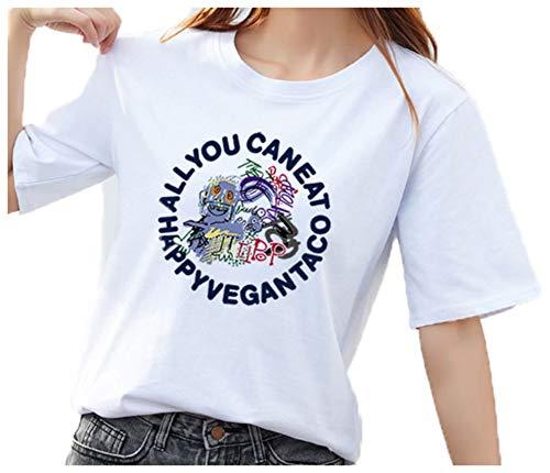 Wsgyj52hua 2021 Manga Corta para Mujer Camiseta De Calle De AlgodóN para Mujer Primavera Y Verano Camisa Suelta De Media Manga Coreana