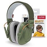 Alpine Muffy Protectores de Oído para Niños - Cascos Antiruido para niños de hasta 16 años - Cascos de Insonorización diseñados niños - Cómoda protección auditiva - banda de sujeción ajustable - Verde