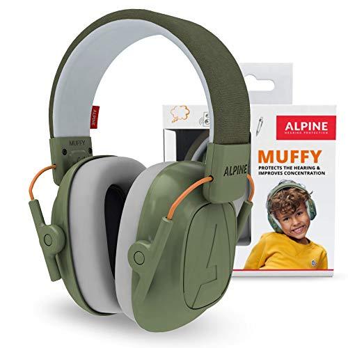 Alpine Muffy Lärmschutz Kopfhörer Kinder - Ohrenschützer für Kinder bis zu 16 Jahren – Geräuschdämmender Gehörschutz für Kinder - Komfortabler Gehörschutz Kind mit verstellbarem Kopfband - Grün