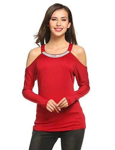 Zeagoo Damen Langarmshirt Pullover Glitzer Party Shirt Perlen Pailletten Tunika mit Schulter-Cut-Outs (Weinrot, M)