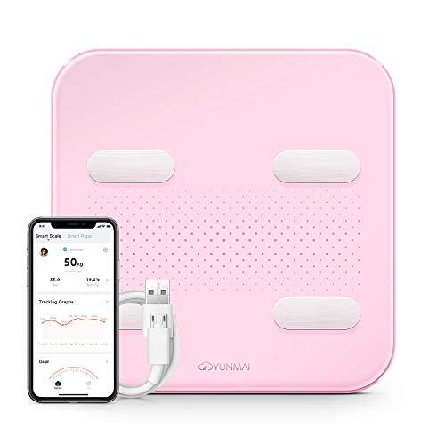 YUNMAI S Báscula 10 Cargador USB de Datos Corporales Compatible con Pantalla LED Oculta Bluetooth iOS y Android Apple Health Google Fit con Aplicación Gratuita, para regalo(Rosado)
