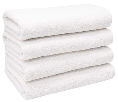 ZOLLNER 4er Set Handtücher, 50x100 cm, 100% Baumwolle, 420g/qm, weiß
