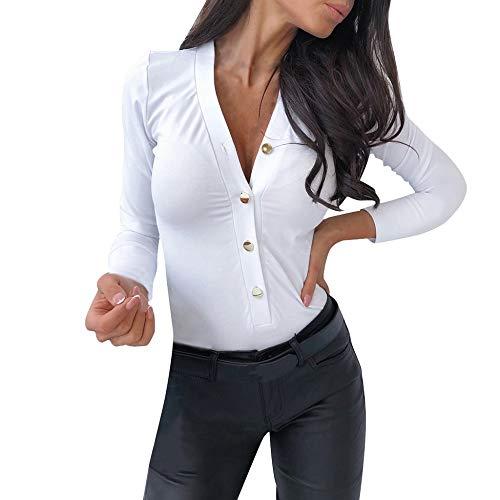 Body de Manga Larga con Cuello en v para Mujer Mono Color sólido Sexy Blusa Top de Elegante Bodysuit Corte Ajustado Casual Leotardo de otoño e Invierno Blanco 211