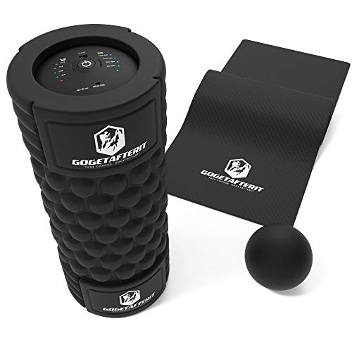 GGAI Vibrating Foam Roller For Physical Therapy - Exercise With Yoga Mat - Lacrosse Ball - Muscle Relaxing Massage Roller With 5 Speed High Intensity Vibration Trigger Point Massager For Sore Muscles