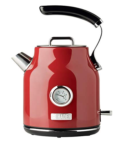 Haden DORSET 1.7 Liter Stainless Steel Retro Electric Kettle with Auto Shut-Off and Boil-Dry Protection in Red