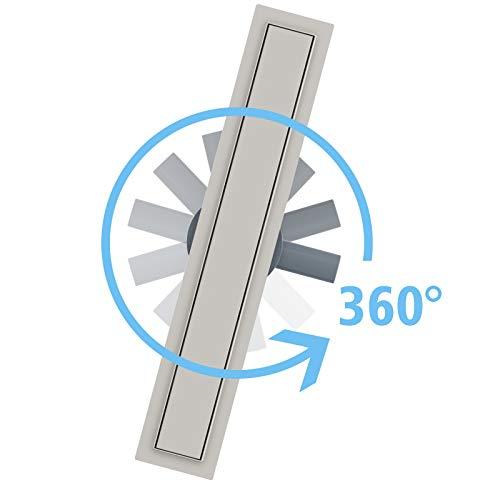 Edelstahl Duschrinne, 360° drehbarer Siphon mit Geruchsverschluss und Haarsieb, befliesbarer Bodenablauf, 70cm