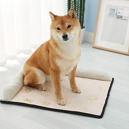 WHSS Cama de perro de seda de hielo, alfombrilla extraíble y lavable, alfombrilla de mascota para nido de mascota de verano, hielo, seda, sofá cama gris 67 x 82 x 8 cm
