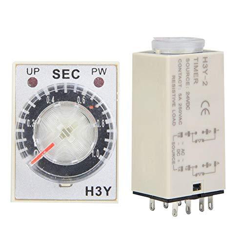Temporizador de retardo H3Y-2 con relé de tiempo de marcación transparente 24V DC Interruptor de control de tiempo preciso 0-60S 8Pins(1S)