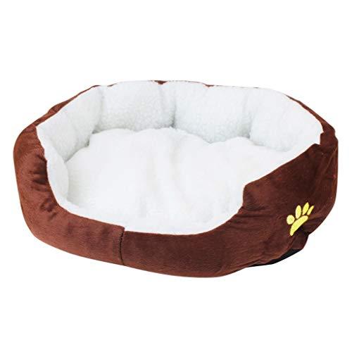 Kenmeko - Cama para perros lavable de peluche cálido y suave, sofá para perros, gatos y camas para dormir (50 x 40 cm, café)