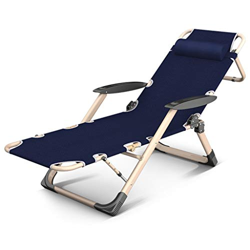 Lit pliant inclinable chaise longue plage jardin camping lit chaise accompagnant lit de soleil réglable en tissu Oxford (Couleur : Blue chair)