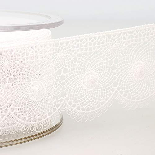 Affordable Stephanoise 40mm Embroidery Tulle Lace Trim White - per 14 metre roll