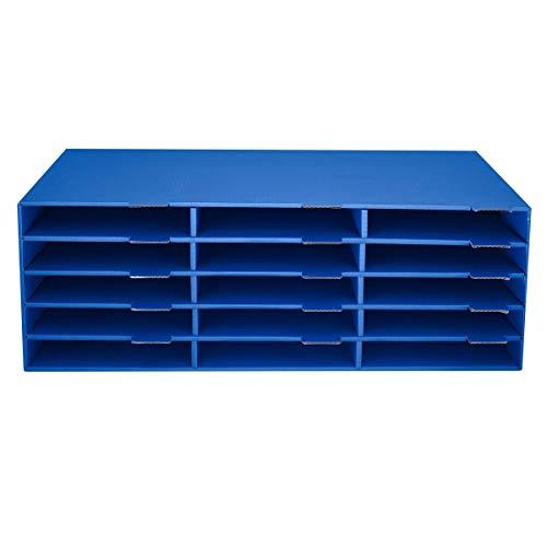 Adir File Sorter Literature Organizer - Mail Vinyl Craft Paper storage Holder Corrugated Cardboard for Office, Classrooms, and Mailrooms organization (15 Slots, Blue)