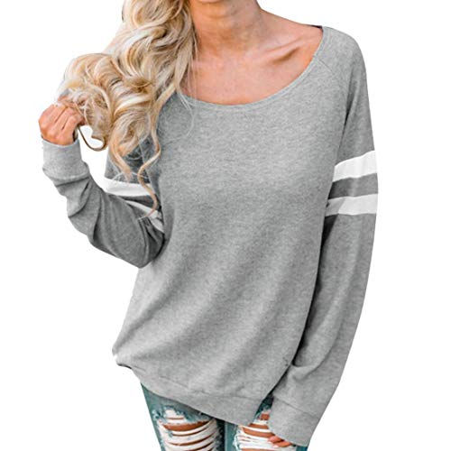 Women Stripe V Neck Long Sleeve Tops Casual Blouse T Shirt with Pocket Gray