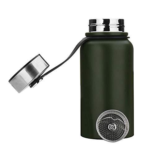 YYW - Botella térmica de acero inoxidable de 1,5 litros, aislada al vacío, termo, a prueba de fugas, deportiva, doble pared, termo para deporte, Unisex adulto, verde, 1.5 L ( 13x3.5 Zoll )