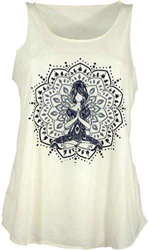 Guru-Shop Tanktop mit Ethnodruck, Damen, Yogi Creme, Synthetisch, Size:38, Tops & T-Shirts Alternative Bekleidung