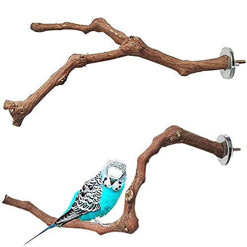 2 Piezas Perca de Pájaro, Perca de Loro Madera, Perchas Naturales Para Pájaros, Madera de Uva Salvaje Para Jaulas de Pájaros, Garras de Molido, Escalada, Periquitos, Cacatúas, Canarios, 2 Estilos