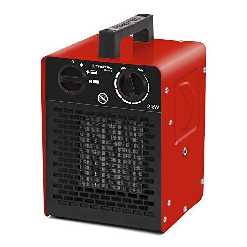 TROTEC Keramik Heizlüfter Elektroheizer TDS 10 C inkl. Mehrstufen-Temperaturregelung bis 2.000 Watt (2 kW) Bauheizer mit Thermostat