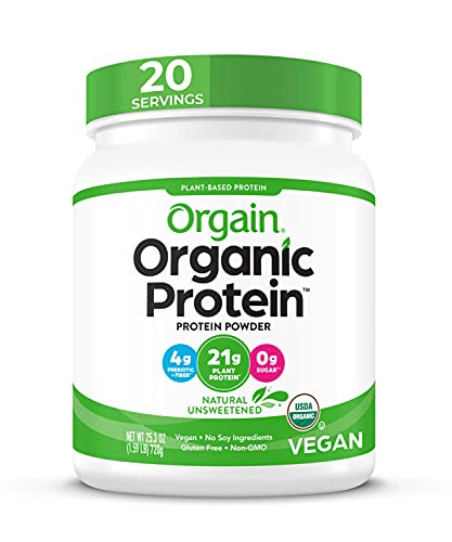 Orgain Organic Plant Based Protein Powder, Natural Unsweetened - Vegan, Low Net Carbs, Non Dairy, Gluten Free, No Sugar Added, Soy Free, Kosher, Non-GMO, 1.59 Lb (Packaging May Vary)