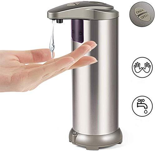 GOHHK Dispensadores jabón Dispensador automático jabón Acero Inoxidable 250 ml - Dispensador loción sin Contacto con Sensor - para baño, Cocina, Oficina, dispensador jabón Hotel