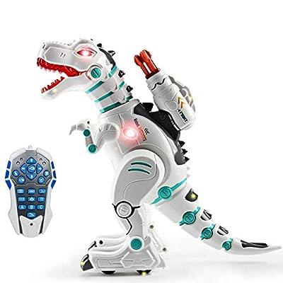 wodtoizi Remote Control Robot Dinosaur Toy Interactive RC Dinosaur Roar Robot Walking T-Rex Intelligent Educational Dancing Singing Missiles Launching Water Mist Spraying Storytelling Learning