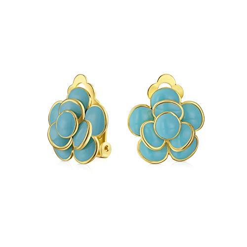 Simulado azul turquesa flor rosa retro clip en pendientes botón estilo orejas no perforadas 14K oro chapado latón