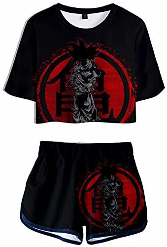 Conjunto de pijama con diseño de bola de dragón y anime en 3D para mujer Super Saiyan sexy camiseta y pantalones cortos de manga corta Dragon Ball Son Goku Camisas de pijama de 2 piezas