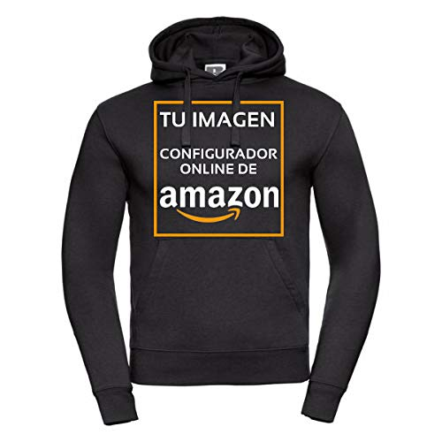 QCM Sudadera Personalizada Negra con Capucha - Impresión Directa (DTG) (Negro, XL)