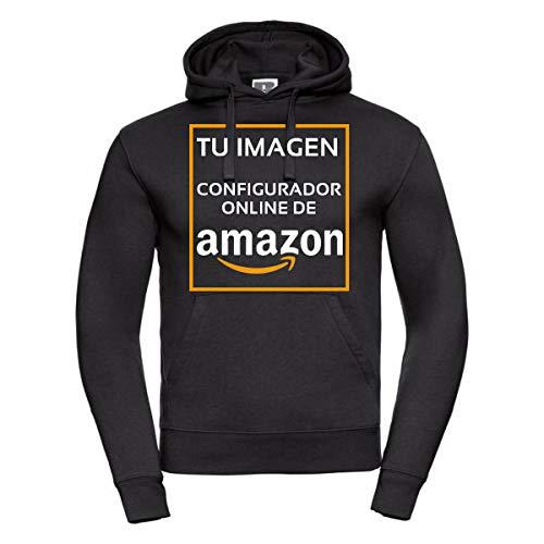 QCM Sudadera Personalizada Negra con Capucha - Impresión Directa (DTG) (Negro, S)