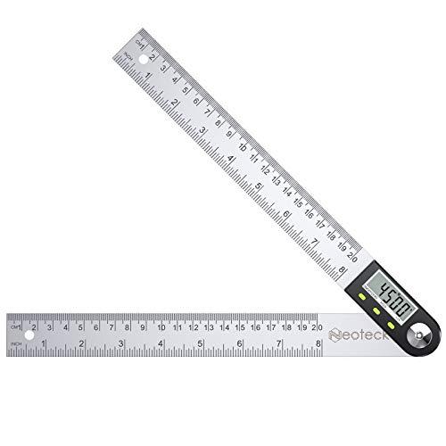 Neoteck Medidor de Ángulos Digital Inclinómetro de Ángulos 0-200 mm HOLD Transportador de de Acero Inoxidable con Puesta a Cero Reinicio de la Pantalla LCD Regla del Nivel de Alcohol Electrónico