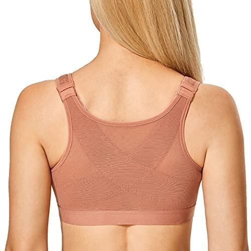 DELIMIRA Women's Wireless Posture Bra Front Closure Full Coverage Comfort Bras Pumpkin Heather 38E