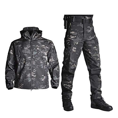 FACAI Ejército Impermeable Camuflaje Traje De Caza Chaqueta Táctica Hombres Chaqueta De Concha Suave Camuflaje Piel De Tiburón Chaquetas Militares + Pantalones,Black/Grey-XL
