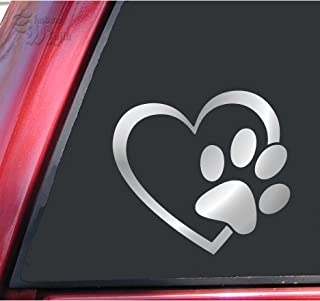 ShadowMajik Heart and Paw Print Vinyl Decal Sticker (6